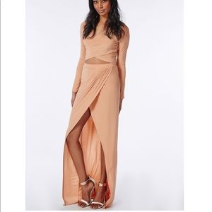 Missguided wrap front slinky crop top & maxi skirt